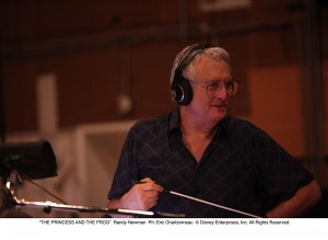 Randy conducts the orchestra at a Princess and Frog recording session.